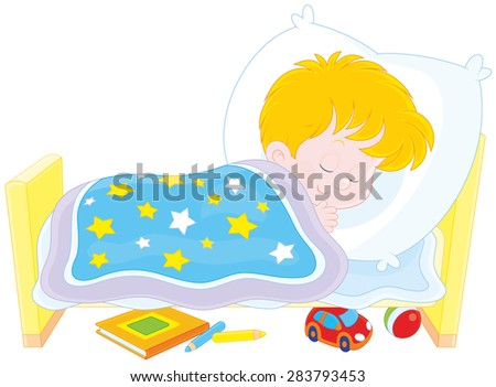 Little boy sleeping in his small bed Stock photo ©