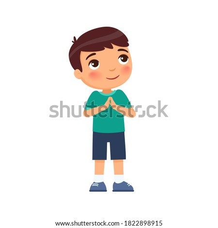Little boy smiles and lifts up his eyes and hands in prayer. Concept of religion, prayer and Christianity. Cute cartoon character isolated on white background. Flat vector color illustration.