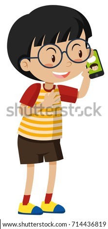 Little boy talking on cell phone illustration
