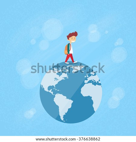 little boy walk on globe world