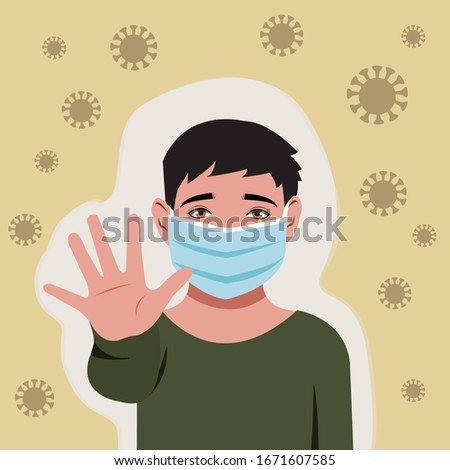 Little boy wearing mask and showing his clean hand as sign to stop corona virus. Flat style vector minimalist design