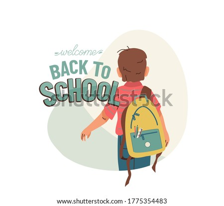 little boy with backpack go to