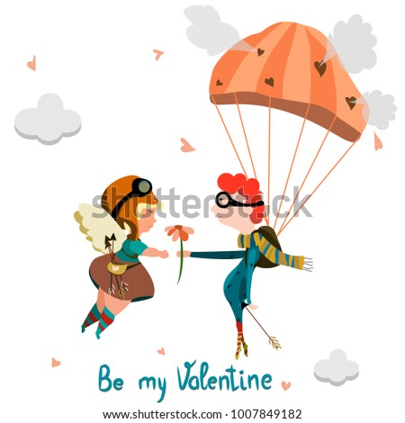 Little boy with flowers/ Boy ang girl in the sky/ Valentines day