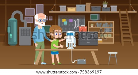 Little boy with his grandfather create new lego robot at garage workshop. Family together engineering smart technology toy. Vector illustration