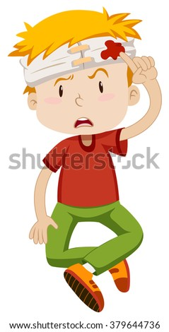 Little boy with his head wrapped illustration
