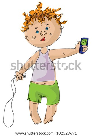 little boy with mobile phone and jumping-rope - cartoon