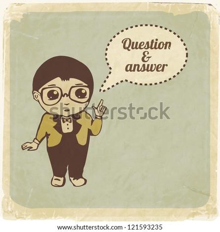 Little boy with speech bubble. Retro style vector illustration