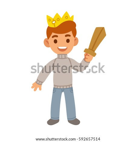 little boy with toy wooden