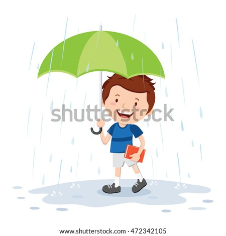 little boy with umbrella in