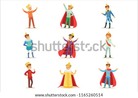 Little Boys In Prince Costume With Crown And Mantle Set Of Cute Kids Dressed As Royals Illustrations