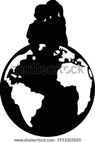 Little brother and big sister siblings sitting on world globe Foto stock ©