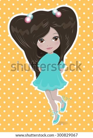 little brunette girl in