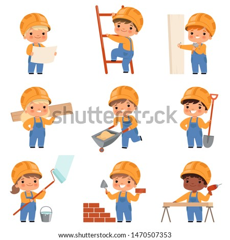 Little builders. Childrens with construction tools making job working builders in yellow helmet vector characters. Little builder making jo with tools illustration