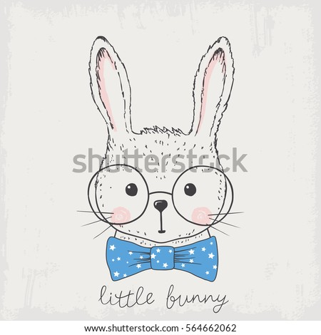 little bunny hand drawn