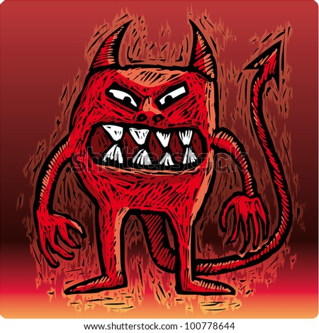 Little burning devil with an angry smile looking at you