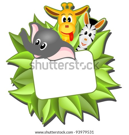little cartoon elephant, giraffe and zebra with empty card on background from green leaves - vector illustration