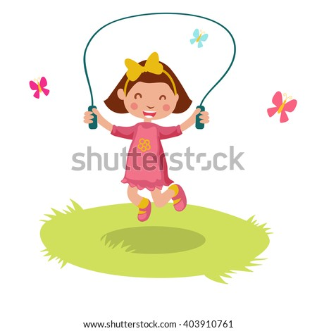 Little cartoon girl skipping rope. Vector illustration.