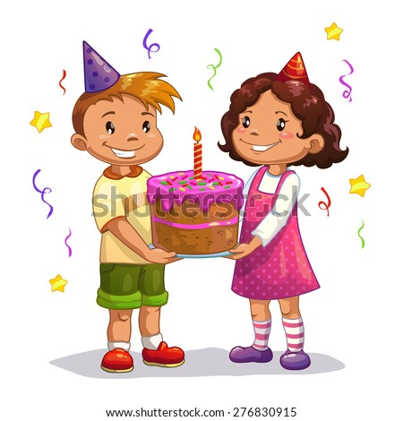 Little cartoon kids with big birthday cake, isolated vector