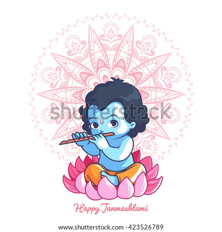little cartoon krishna with a