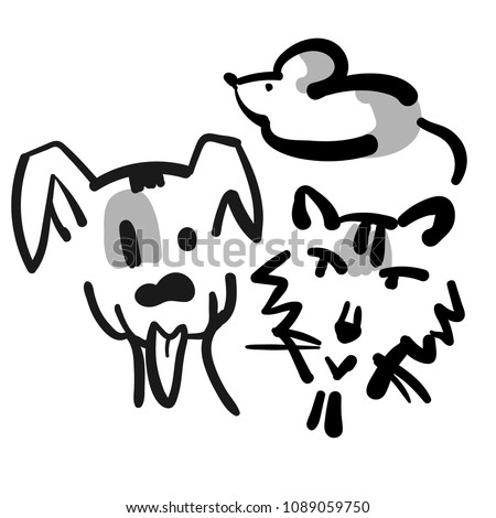 Little cat and little dog with a little mouse. Children vector illustration. Cute character design.