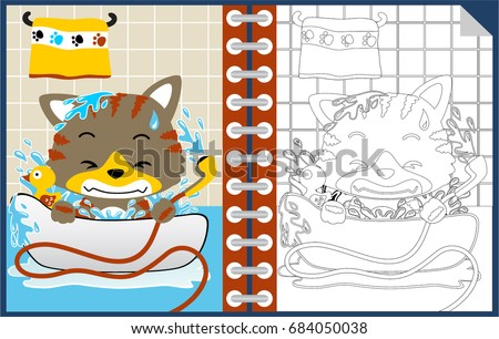 Stock Photo Little cat cartoon in the bathroom, coloring book or page