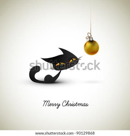 Little Cat Excited About Christmas Globe | Great Greeting for Pet Owners | Layered EPS10 Vector Background