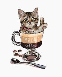 little cat in coffee cup illustration