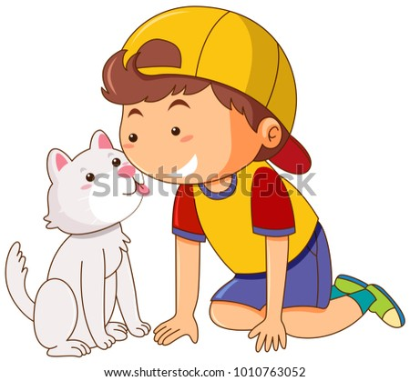 little cat licking boy's face