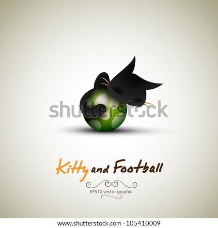 little cat sleeping on football