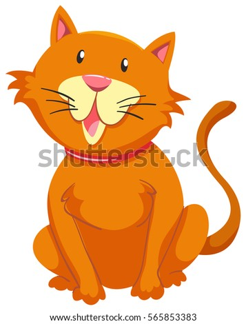 Little cat with orange fur illustration