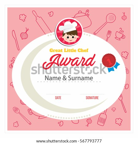Little chef award. Cooking class for kids red certificate design template, vector illustration