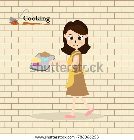 little chef cooking at kitchen