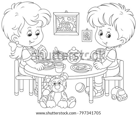 Little children at breakfast in their nursery, a black and white vector illustration in funny cartoon style for a coloring book