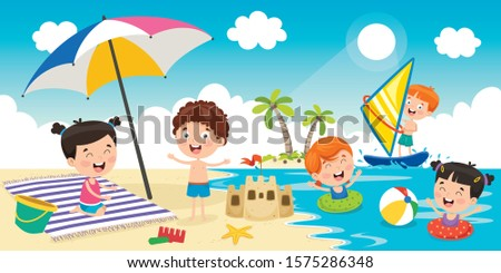 little children playing at beach