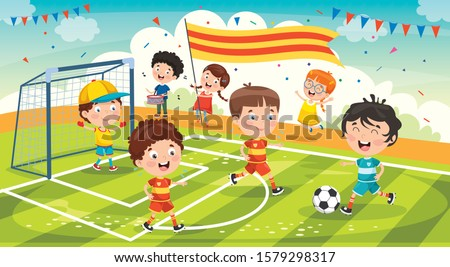 Little Children Playing Football Outside