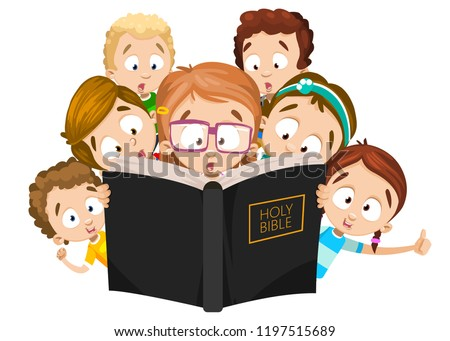 Little children reading holy bible. Cute girls and boys at christian camp. Faithful children looking in big bible book. Word of god knowledge. Spirituality and religion education vector illustration