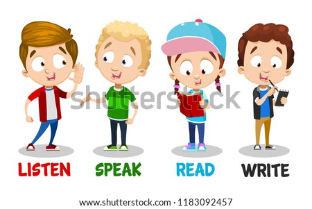 Little children showing basic language skills. Reading, writing, speaking and listening skills animation. Primary school education vector illustration. Preschool pupils learning foreign language.