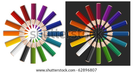 Little color pencils in circle, isolated, vector illustration