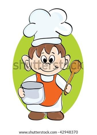 Little cook. Vector illustration.