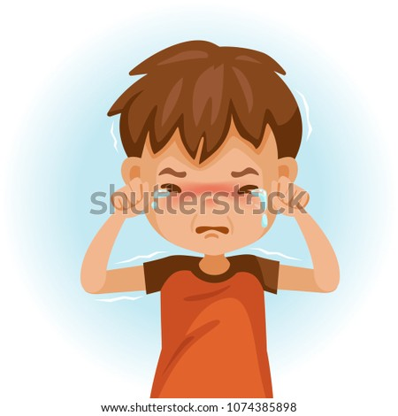 little crying boy. Children's mood on sad regret. kid facial sad. Tears and shivering shoulders. Vector illustrations isolated on white background. Foto stock ©
