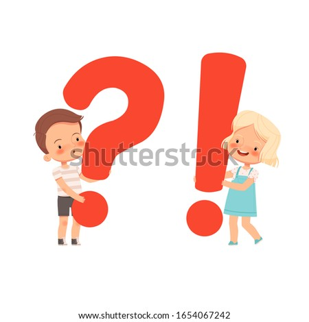 Little cute boy and girl hold question and and exclamation marks. A concept for children's questions and answers. Curious children Stock photo ©