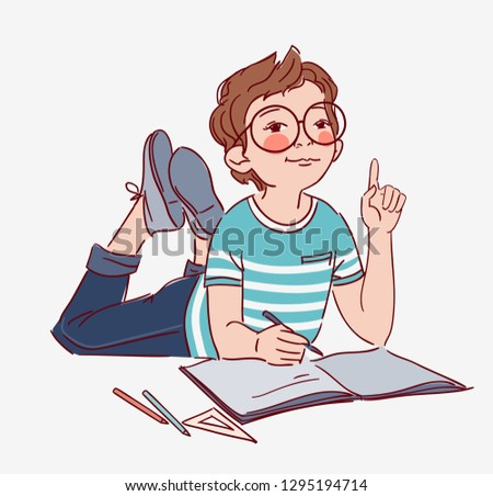 Smart Boy With Glasses Vector Download Free Vector Art Stock