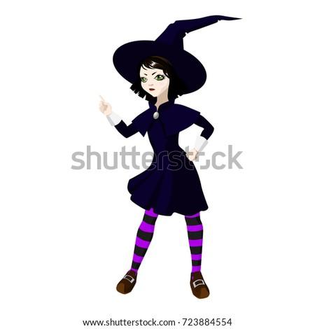 little cute brunette witch