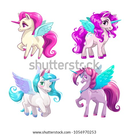 Little cute cartoon pegasus icons set. Beautiful fantasy pony. Pretty girlish vector illustration for girls t shirt print design.