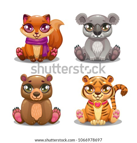 Little cute cartoon pet icons set. Sitting fox, koala, bear and tiger characters. Vector baby animals for kids game design.