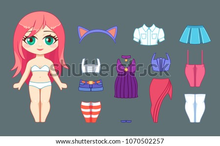 little cute chibi girl and set