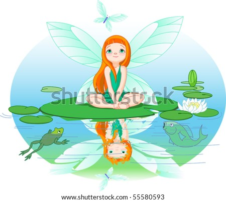 Little cute fairy observes for flying butterfly on Water lily leaf.