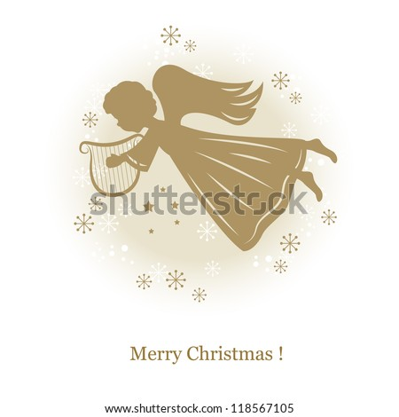 Little cute flying angel with harp . Hand drawing illustration - stock vector