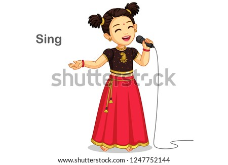 Little girl singing song - Download Free Vectors, Clipart