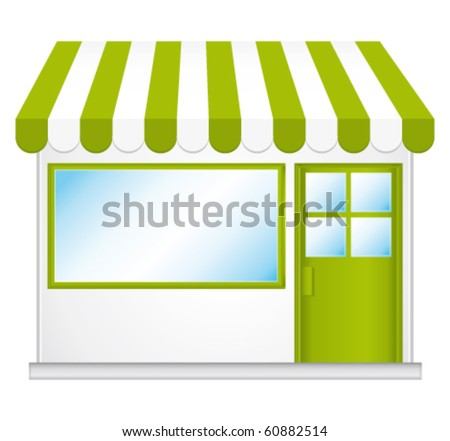 Little cute organic store shop. Vector icon.